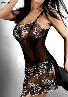 Amazing Women Black Embroidery Sexy Lingerie Dress Lady Print Transparent Nightwear Plus Size M-4XL