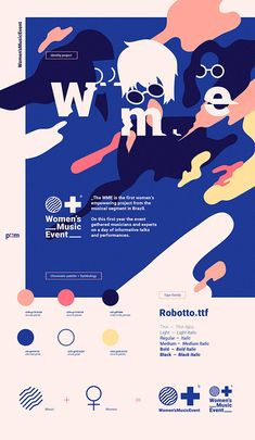 Branding Inspiration Illustration Women's Music Event. The WME is the first women's empowering project from de musical segment in Brazil. On this first year the event gathered musicians and experts on a day of informative talks and performances. | HeyDesign.com