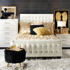 LAST DAY: Save on all bedroom essentials for your next night of glamorous, Hollywood golden-era sleep! [Tap link in bio to shop it now] Gold Bedroom Decor, Glam Bedroom, Bedroom Furniture, Bedroom Ideas, Furniture Ideas, Furniture Makers, Gold Home Decor, Modern Bedroom, Luxury Furniture