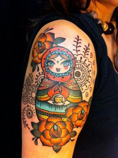 Are you crazy enough to make a matryoshka tatoo? You will certainly be the most popular buddy at any party! Dream Tattoos, Mom Tattoos, Tattoo You, Tatoos, American Style Tattoo, Russian Doll Tattoo, Nesting Doll Tattoo, Ukrainian Tattoo, Bird Tattoo Wrist