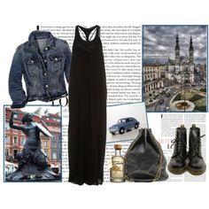 black maxi dress and jean jacket