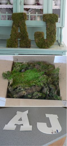 How cool would these look on my garden wall!? tutorial is a couple of clicks away via original link - here http://grosgrainbride.blogspot.com/2008/08/moss-covered-monogram.html