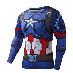 Marvel Fitness Compression Shirt Superman ,Captain America ,Batman ,Spiderman ,Iron Man, Crossfit Clothing