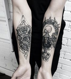 Flower and skull forearm tattoo - 110 Awesome Forearm Tattoos
