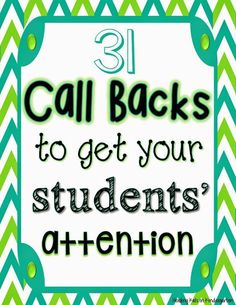 Call Backs After Spring Break (FREEBIE!) FREE Call Backs (Attention Getters) for the primary classroomFREE Call Backs (Attention Getters) for the primary classroom Classroom Behavior Management, Behaviour Management, Behavior Plans, Behavior Charts, Classroom Management Techniques, Behavior Rewards, Primary Classroom, Kindergarten Classroom, Classroom Ideas
