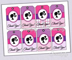 Barbie Favor Tags, Barbie Invitation and Barbie Party Decor and Printables, DIY, INSTANT DOWNLOAD
