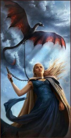 Beautiful fantasy art, Girl with a dragon pet.