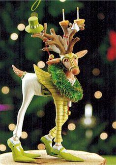 Krinkles Dash Away Mini Reindeer Ornaments by Patience Brewster