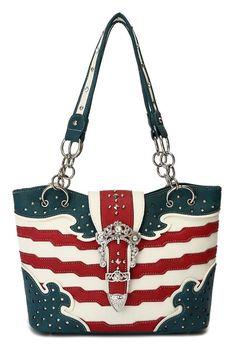 Western Cowgirl USA Flag Design Rhinestones Belt Bucket Tote Bag #GetEverythingElse #TotesShoppers