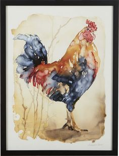Alexandra Carter reimagines the iconic farmyard rooster, rendering the rustic and familiar in fresh, painterly washes of deep blue, red and browns.  Although appearing as a traditional watercolor, the work is the result of an unusual technique by which Carter applies pools of ink to waterproof yupo paper, allowing the pigment to traverse across the non-porous surface in unpredictable ways.  Giclée reproduction of the original painting is printed on paper and hand signed by the artist.