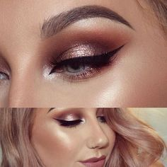 rose gold eyeshadow, winged eyeliner, inner corner highlight, contour/highlight, nude lips, bold brows