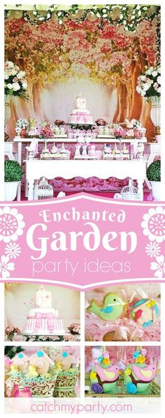 Step into this Enchanted Garden birthday Party. The dessert table & floral decor are wonderful!! See more party ideas and share yours at CatchMyParty.com