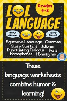Humor + Learning = Happy & Smart! These NO PREP PRINTABLES combine serious learning with funny content which puts everyone in a better mood! All of the content is based on jokes, riddles, silly ideas, and funny sayings. But the work itself that students will do is serious stuff! Provides students the opportunity to practice, practice, practice a variety of language and writing skills...and to laugh. ALIGNED TO IMPORTANT STANDARDS! Punctuate dialogue, set off clauses with commas, idioms, writing Middle School Ela, Middle School English, Writing Practice, Writing Skills, Punctuating Dialogue, Writing Complete Sentences, Curriculum Night, 8th Grade Ela, Interactive Presentation
