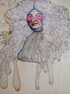 """Beatrice Feo Filangeri : """"In Versailles after a large drinking"""" Drawing and Pastell on paper 70x50cm  Strani personaggetti stanno per popolare il parruccone di Luis XIV ....e si divertono pure!!!!! #POPBAROQUE is magic!!!"""
