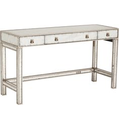 Eglomise Mirrored Vanity Table - Mirrored Furniture - Furniture
