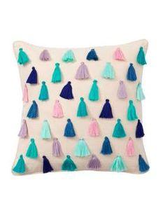 Rainbow Tassel Pillow Covers from PBteen. Handmade Pillow Covers, Handmade Pillows, Handmade Home Decor, Decorative Pillow Covers, Diy Cushion Covers, Cushion Cover Designs, Colorful Throw Pillows, Cute Pillows, Diy Pillows