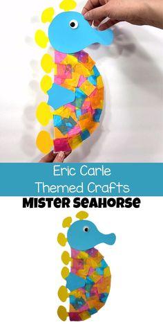 Ocean Theme Crafts, Ocean Animal Crafts, Water Themed Crafts, Ocean Kids Crafts, Animal Crafts For Kids, Preschool Art Activities, Kindergarten Crafts Summer, Childrens Crafts Preschool, Summer Art Activities