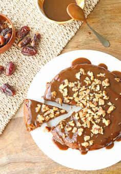 Salted Caramel Date Cake | One Arab Vegan
