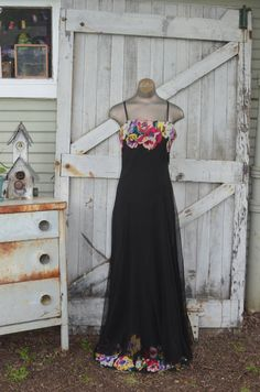 1930s floor length silk gown 30s appliqued sheer black dress size medium Vintage maxi dress with flowers by melsvanity on Etsy