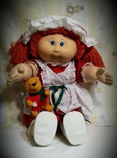 VTG 1985 CABBAGE PATCH KIDS DOLL RED HAIR,Blue eyes, CHRISTMAS dress,pooh plush #Dolls