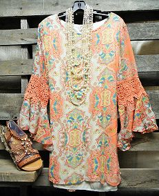 Good Times In My Lace Flower Tunic Shirt
