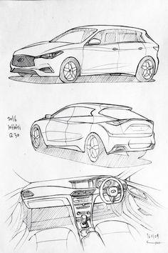 Car drawing 160109.  2016 Honda Infiniti Q30. Prisma on paper.  Kim.J.H