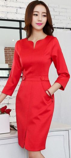 Red Midi Elegant Evening Korean Dress Love waist, neckline and even the colour. Dresses For Teens, Simple Dresses, Pretty Dresses, Beautiful Dresses, Short Dresses, Dresses For Work, Modest Fashion, Fashion Dresses, Midi Dresses