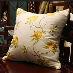 Flower embroidered throw pillows for home decoration 18 inch