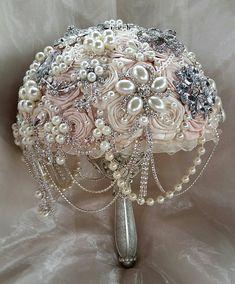Pink Brooch Bouquet Blush Pink Bridal by Elegantweddingdecor