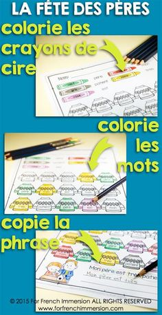 French Father's Day Color the Words and Read the Sentence - 6 worksheets and mini-book. En français.