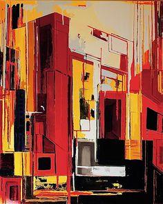 RED CITY /100x80cm/ Maria Alicia URREA CARVALLO / Mixte sur toile - GalerieLaSpirale.be