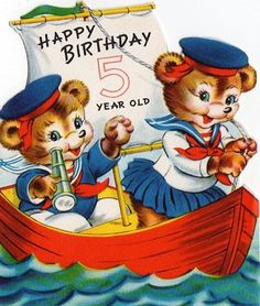 vintage 5th birthday card bears in boat