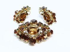 Smoke & Topaz Rhinestone Earrings and Brooch Demi Parure Set - Raised Flower Clip on Earrings - Diamond Shape Brooch