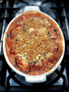 Aubergine Parmigiana Serve with potato gratin (with bacon for meat eaters) and a mixed salad