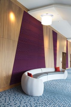 Acoustic Panels in lobby; Interior Cladding, Interior Exterior, Interior Walls, Interior Architecture, Design Commercial, Commercial Interiors, Espace Design, Acoustic Wall Panels, Sound Room
