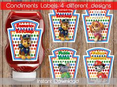 Paw Patrol Condiments Labels a perfect additional touch to your party.  You will receive 1 high resolution JPG Files Size ------------------------------------------------- The labels fit the larger Heinz squeeze bottles (20oz) 4 Condiment Labels in a 8.5x11 Page  HOW INSTANT DOWNLOAD WORKS ------------------------------------------------- 1. Add this product to your cart and checkout. 2. As soon as your payment clears you will receive an email from Etsy with a download link to retrieve your…