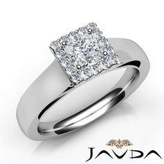 Halo Prong Set Princess Shape Diamond Engagement Ring GIA E VS1 Platinum 0.92Ct
