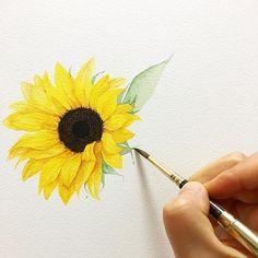 해바라기 그리기 싫다!!  . . #수채화 #해바라기 #그림안되는날 #꽃그림 #식물그림 #sunflower #flower #painting #artwork #watercolor #watercolour #aquarelle #watercolorpainting #illust #illustrator #artgram