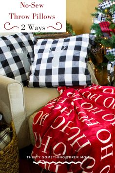 Add a pop of Buffalo Check to your home with this No-Sew pillow tutorial that can be done in two different ways. No need to hit the fabric store, you will be surprised by what these pillows are made from. This method keeps the seams looking professional. #DIY #craft #buffalocheck #create #inspire #pillows #nosew #nosewpillows #diythrowpillows #diypillows #christmasdecor #christmas #christmascraft