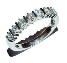 Stamped 925 Sterling Silver & Gem Set Fancy 1/2 Eternity Ring - UK Size: N 1/2