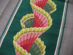 Vtg Barkcloth Fabric Art Deco Design Stripes (Greens & Pinks)