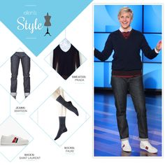Ellen's Look of the Day: button up under navy sweater, jeans and sneakers