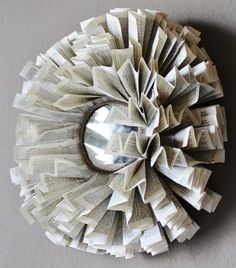 Book page wreath with mirror