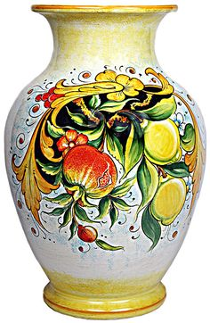 Ceramic Vase with large Central Cavity - Frutta Festone Fragole e Limoni style - 14 inches x inches diameter high x diameter) Ceramic Vase, Ceramic Pottery, Pottery Art, Italian Tiles, Italian Art, Lemon Flowers, Italian Pottery, Tuscan Style, Pottery Bowls