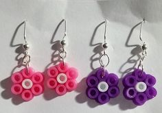 Flower earrings perler beads by prismaticpearls