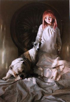 """crossconnectmag: """"Realistic Paintings by Guillermo Lorca Guillermo Lorca Garcia Huidobro born in Santiago in is a Chilean artist best known for his monumental works inspired by dreamlike. Hyper Realistic Paintings, Cool Paintings, Greyhound Kunst, Magic Realism, Art Sites, Spanish Artists, Classical Art, Figure Painting, Figurative Art"""
