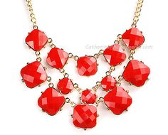 Statement Necklace,Bubble Necklace, Bubble Jewelry, Chunky Necklace, Cluster Necklace,Wedding Necklace (Fn0741- Red)
