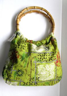The Planet Sack Purse Reversible Fabric Bamboo Handle Hobo Tote Green Print NEW