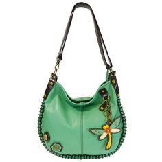 NEW! - Dragonfly Charming Hobo Crossbody with Key Fob - Teal $63.00