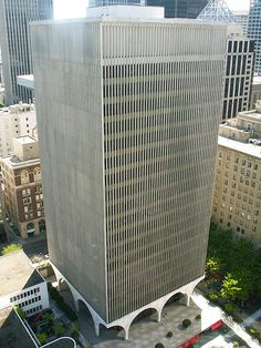 Started in 1962 and completed in 1964 (Minoru Yamasaki). Portland Architecture, Modern Architecture, Seattle, Photo Folder, Back Pieces, Ibm, Outdoor Furniture, Outdoor Decor, Past